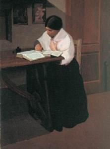 """Oscar Ghiglia, """"Donna che scrive"""" (1908), collezione privata"""