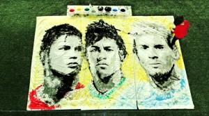 Red Hong Yi, Ritratto di Ronaldo, Neymar e Messi (palla e 8 vernici)