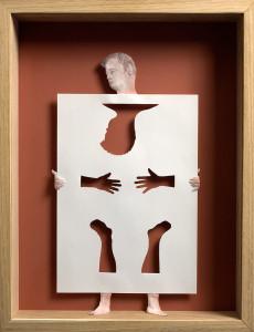 Peter Callesen, Paperman, 2008, carta e colla, pittura acrilica e cornice di legno
