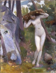 Nino Costa, Alla fonte. La ninfa nel bosco (1862-1897), olio su tela