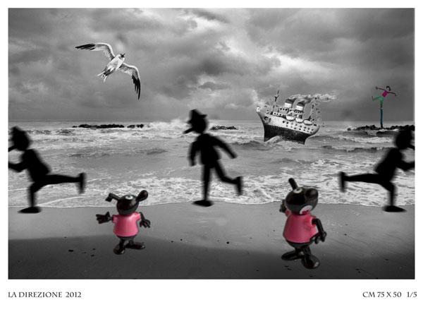 STEFANIA PICCIONI La Direzione Fotocollage Digitale -Stampa Fine Art BFK Rives cm 75 x 50 (1/5), 2012