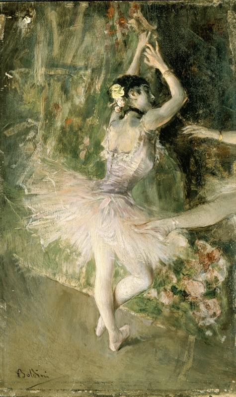 Giovanni Boldini, Alla scuola di ballo, 1880 ca., olio su tavola. Collezione privata
