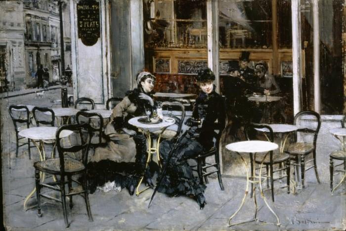Giovanni Boldini, Conversazione al caffè, 1879 ca., olio su tavola. Collezione privata