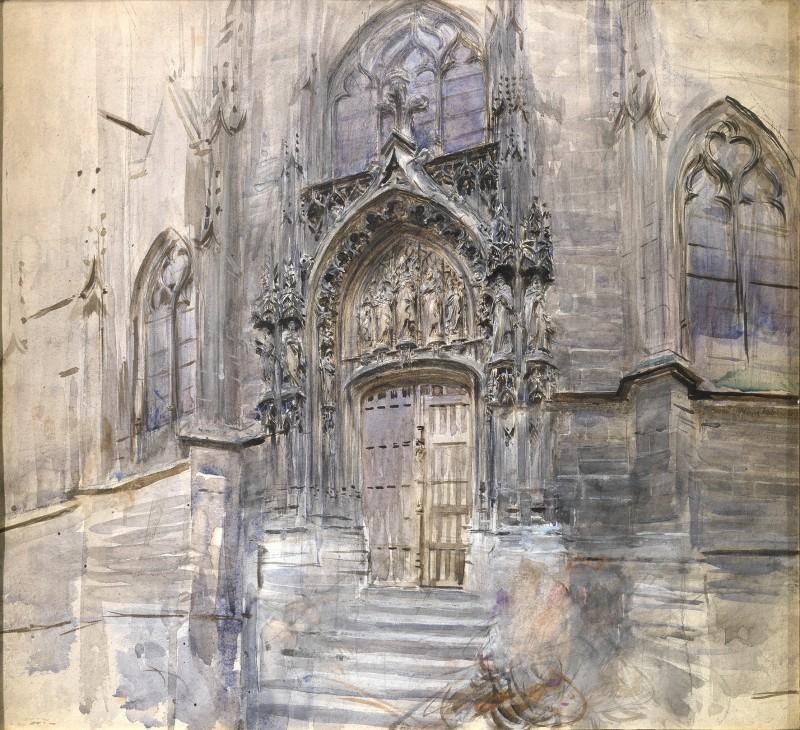 Giovanni Boldini, Portale della chiesa di Saint-Germain ad Amièns, 1883 ca., acquerello su carta. Collezione privata