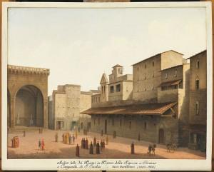 fabio borbottoni, antico tetto dei Pisani, in Piazza della Signoria
