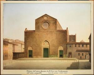 fabio borbottoni, veduta dell'antica facciata di s. croce