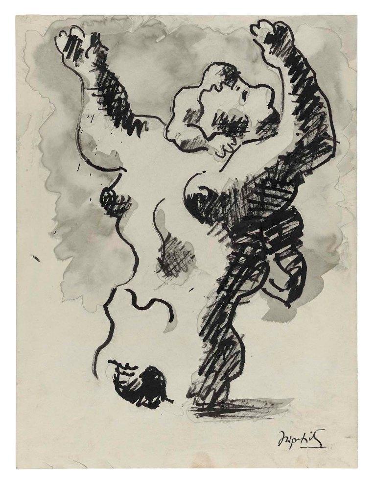 Lipchitz - Madre e figlio - 1939 - Inchiostro e acquerello su carta