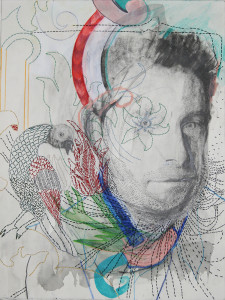 Anna Capolupo, Ma non solo un uomo, un giradino, cm 40x30, grafite, pastelli e filo di cotone su carta, 2015