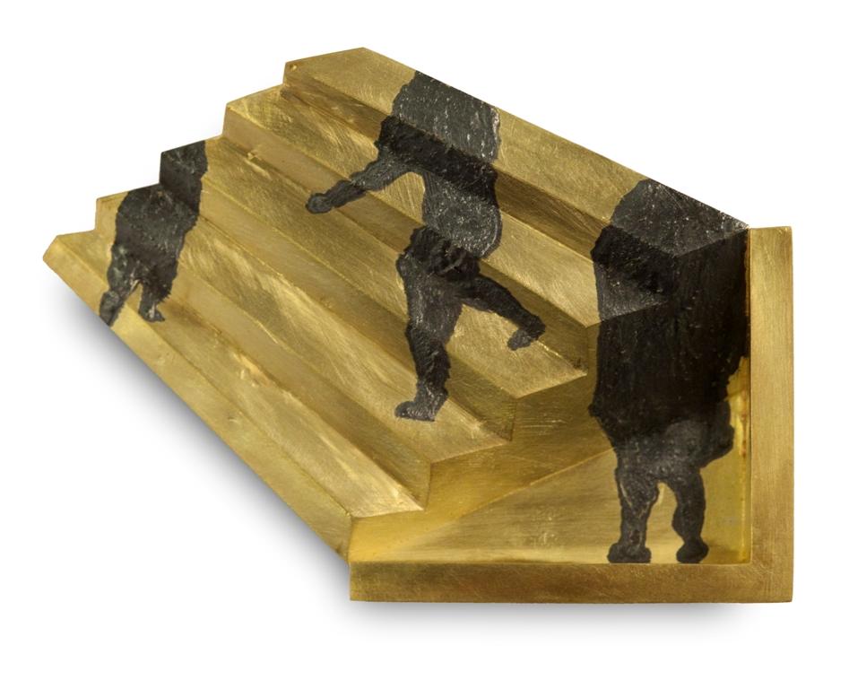 premio pinton 2015 Reveane Spilla, oro, niello