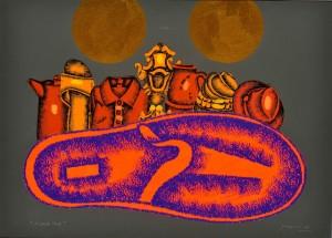 Concetto Pozzati A casa mia, 1998 Tecnica mista e collage su carta, cm 54x75