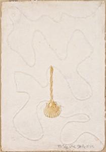 """Eugenia Serafini Regina d'Egitto: """"il labirinto e la conchiglia"""". Dal ciclo: """"Alle Regine d'Egitto: ritorno al sacro"""", 2000 Tecnica materica (carta a mano impressa a rilievo da corda e conchiglia), cm 80x55"""