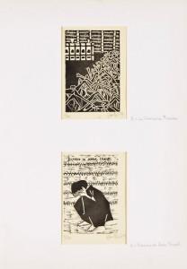 Gianni Marchello (Courtesy: Galleria Schubert) Ricordo di Anna Frank e la soluzione finale, 1959 Xilografie, cm 27x15,5 e 26x17