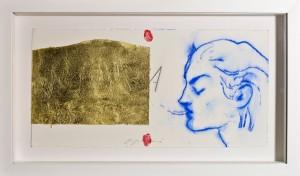 Omar Galliani In aura, 2014 Pastello blu e foglia d'oro, cm 26x51