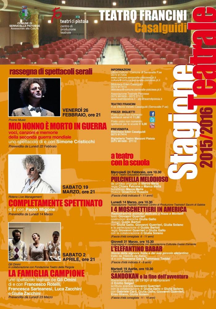 teatro francini casalguidi programma stagione teatrale 2016
