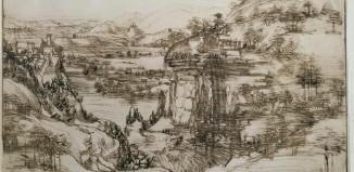Leonardo da Vinci, Paesaggio 5 agosto 1473, Firenze-Gabinetto Disegni e Stampe degli Uffizi pittura arte disegno