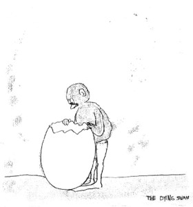 Peter callasen, Looking Into Egg (The Dying Swam series), disegno su carta