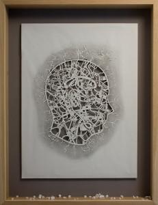Peter Callesen , City of homeless thoughts, 2008, colori acrilici, carta, matita e cornice di legno