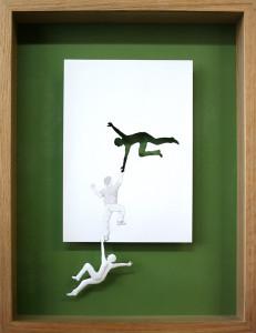 Peter Callesen, Saving himself, 2004, A4carta e colla, colori acrilici, cornice di legno