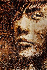 Red Hong Yi, ritratto di Jay Chou, fondi di tazzine sporchi di caffè