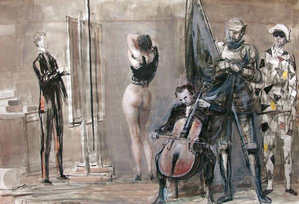 Sicbaldi - Pittore-e-personaggi-nello-studio