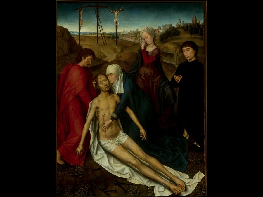 memling, compianto su cristo morto con donatore, 1470-75 ca. Roma Galleria Doria Pamphilj