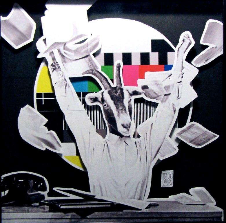 iDipsyDiverz, Donna Capra, 2014,  collage multilivello, cm 20x20