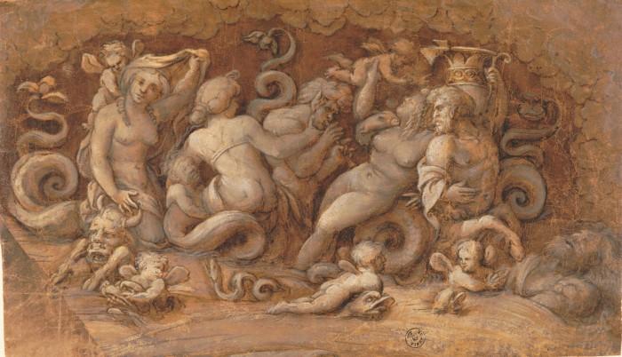 A.Aspertini, Nereidi, Tritoni e putti alati sopra delfini