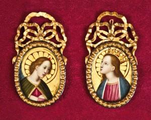 Ambito di Carlo Dolci,Coppia di ovati devozionali, firmati e datati 1661-1662,olio su rame, cm 10,5×6 (ciascuno).