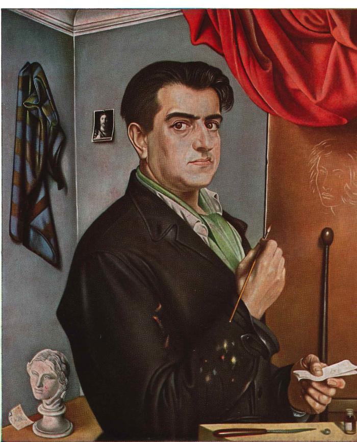 G. Sciltian, Autoritratto 1954 65x55 Olio su Tavolo Galleria degli Uffizi