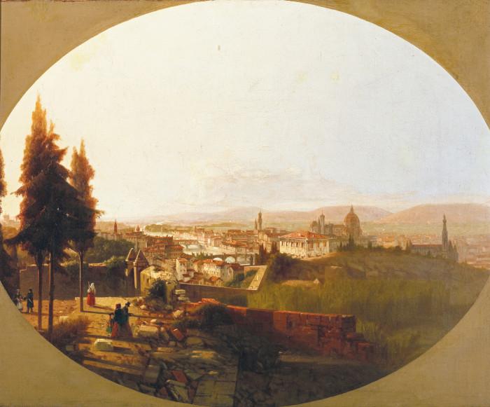 Carlo Brazzini, veduta di Firenze da Monte alle Croci, olio su tela