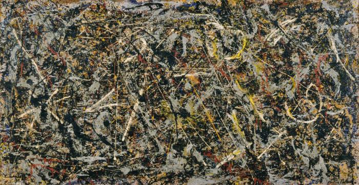 Jackson Pollock, Alchimia (Alchemy, 1947; olio, pittura d'alluminio, forse smalto, e spago su tela, 114,6 x 221,3 cm; Collezione Peggy Guggenheim, Venezi