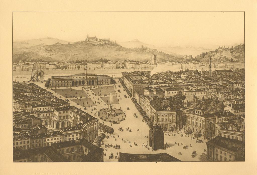 veduta prospettica di piazza Beccaria da Porta alla Croce all'Arno
