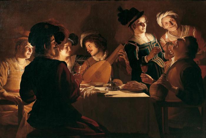 Gerrit van Honthorst (Gherardo delle Notti) (Utrecht 1592-1656), Cena con suonatore di liuto, 1619-1620, olio su tela, Firenze, Galleria degli Uffizi