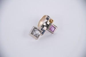 Mikky Eger, anello in argento 925, ametista e pietre preziose - prezzo su richiesta