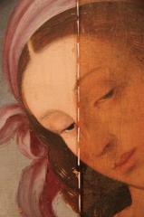 Scuola del Perugino, Madonna con Bambino e San Giovannino, particolare pre e post restauro,Villa Carlotta