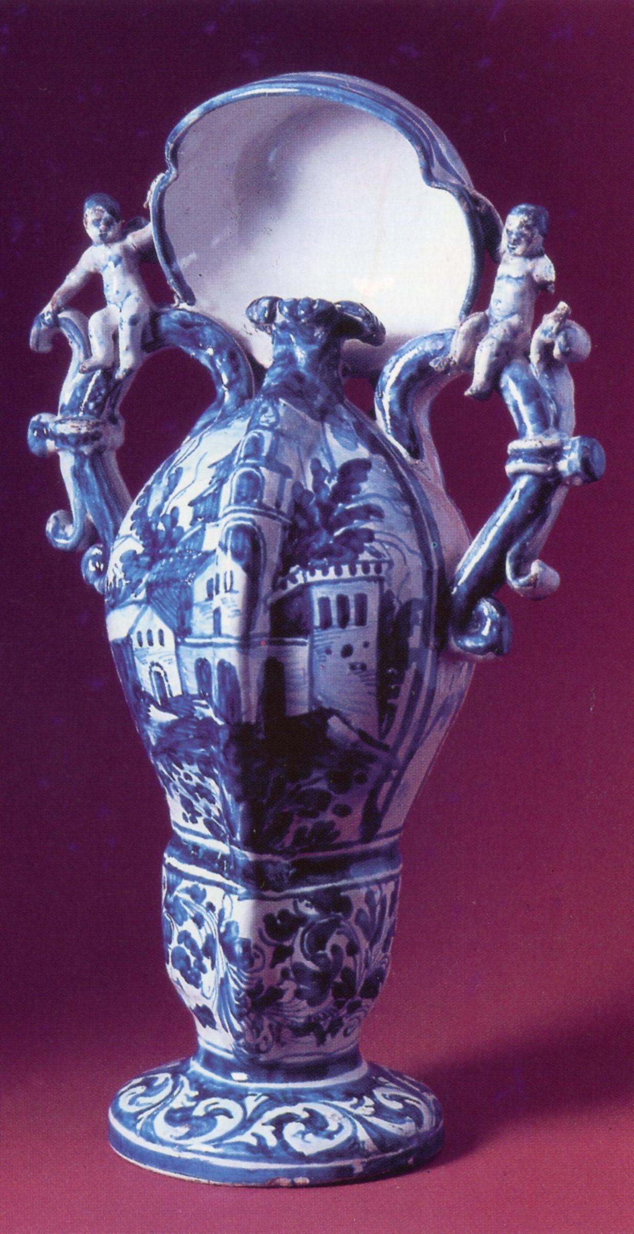 "Ceramica popolare, Lampada notturna per cacciatori (""bacucco""), sec. XVIII, manifattura di Cerreto Sannita, Campania"