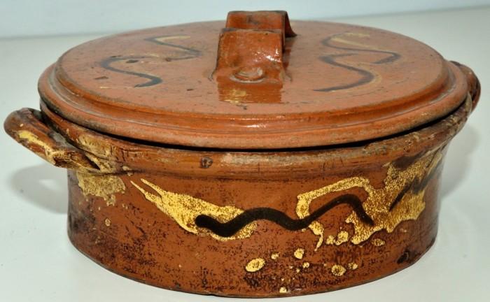 """Ceramica popolare, Pentola, sec. XIX, manifattura di Montelupo Fiorentino o """"Vecchia Toscana"""", Cantagrillo, Vinci"""