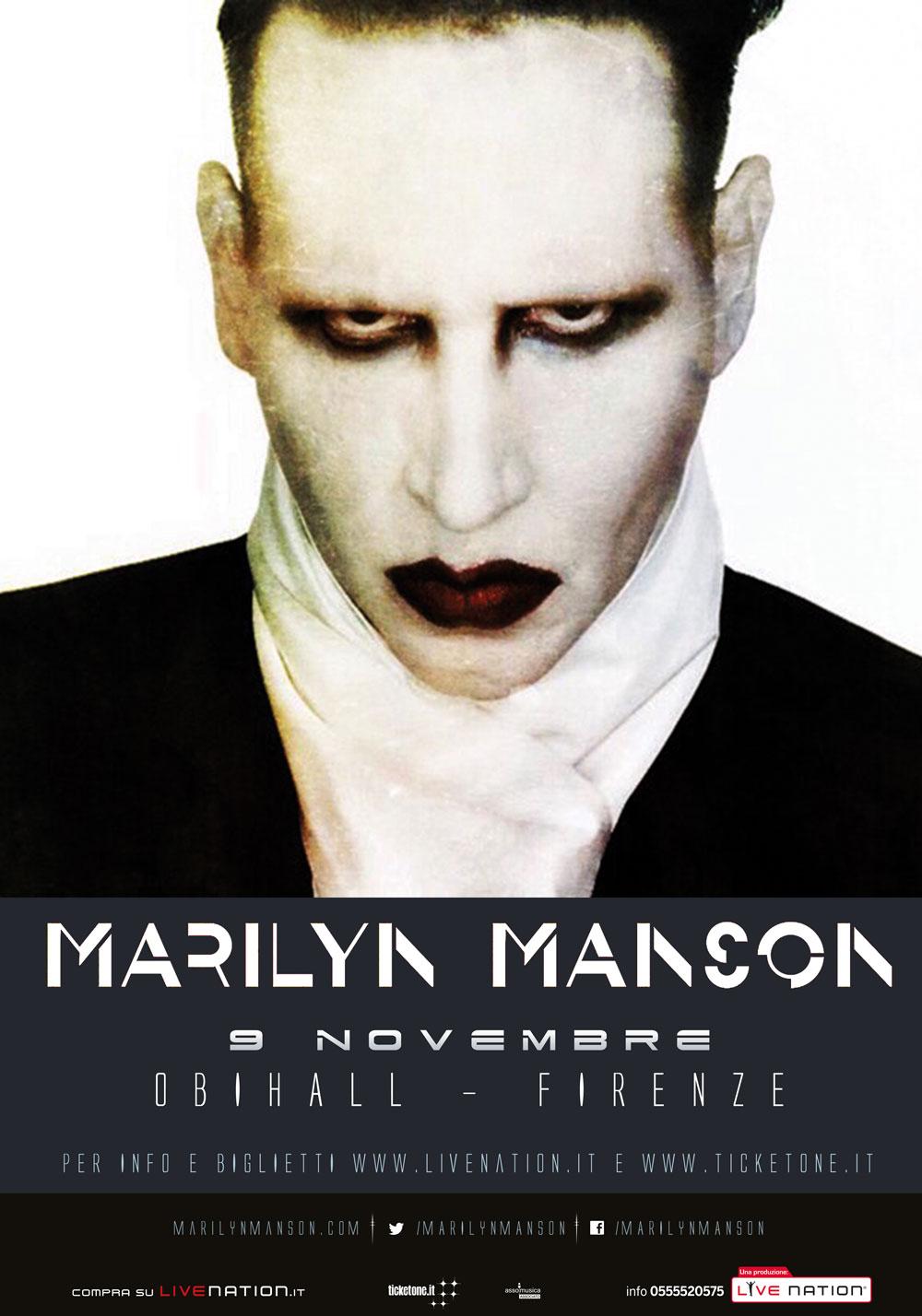 Marilyn Manson in Italia il 9 novembre a firenze
