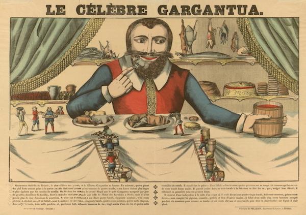 Raccolta Bertarelli, Popolari Profane m. 11e-17 Stampatore Pellerin, Epinal [Le celebre Gargantua].