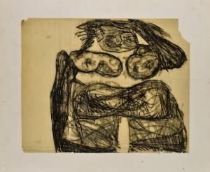 Boris Lurie (Courtesy: Arturo Schwarz) Figura, 1980 Carboncino su carta, cm 47,5x59