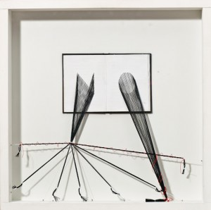 Edoardo Schapira No, 2012 Tecnica mista con fili su libri, cm 40x40