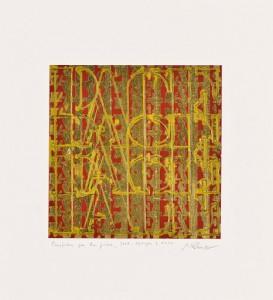 Guido Peruz Preghiera per la pace, 2015 Tecnica mista con foglia d'oro su cartoncino, cm 35x32