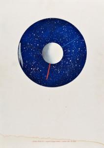 Lucio del Pezzo Piccoli mondi II - L'orologio cosmico, 1986 Gouache, cm 70x50