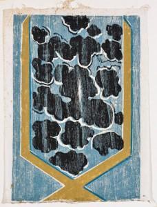 Marcello Guasti Diapason di nubi, 1995 Tecnica xilo quattro colori, prova di torchio, cm 69x52