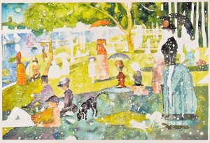 Marcello Jori La Grand jour à l'lle de La Grande Jatte, 2013 Serigrafia a colori su carta a mano, cm 104x151