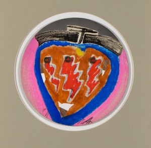 Sergio Dangelo Coeur et poire, 1978 Smalto, tempera e collage su tavola, cm 38x38