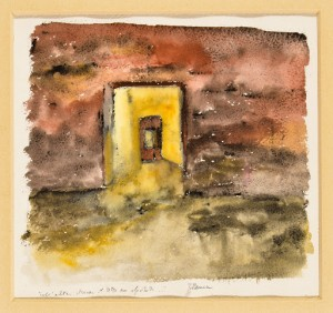 Teresa Maresca Nell'altra stanza il tetto era sfondato, 2000 Acquerello su cartoncino, cm 20x22