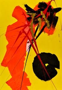 Vittorio Amadio Barnaba de' monti su fondo giallo, 2004 Acrilico su tela, cm 100x70