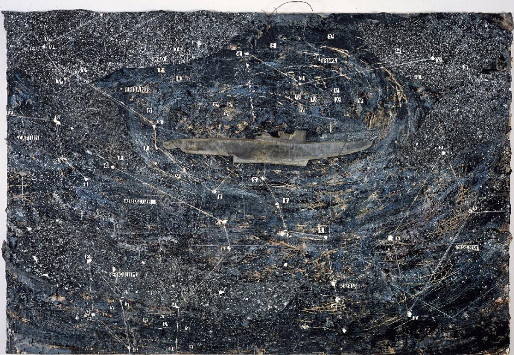 Anselm Kiefer, Eridanus, 2004, olio, emulsione acrilica, carboncino e stucco su tela con sottomarino in piombo, 190 x 280 cm