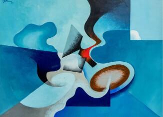 Tullio Crali, Duello aereo,1929 tempera su cartone